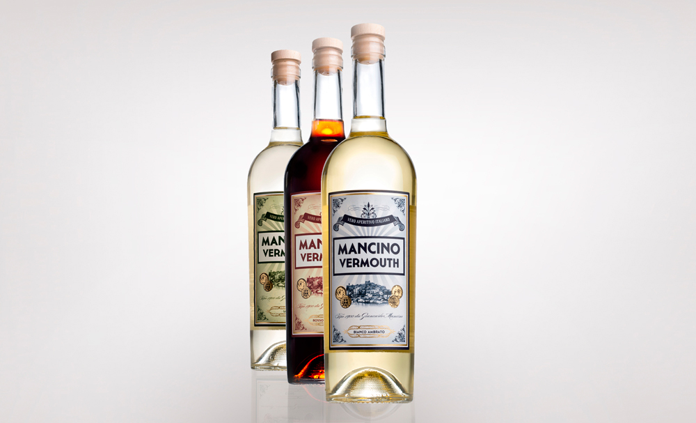 Botellas-Vermuth-Mancino,-Bianco,-Rosso-y-Seco