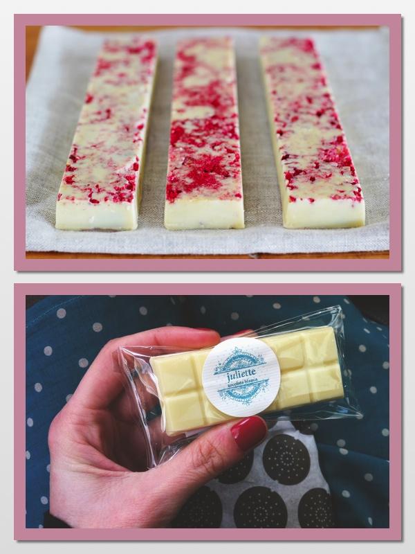 Chocolate blanco con esencia de rosa y chocolatina