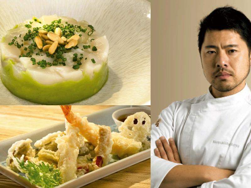 El  chef japonés Naoyuki Haginoya y dos de sus creaciones en Umo