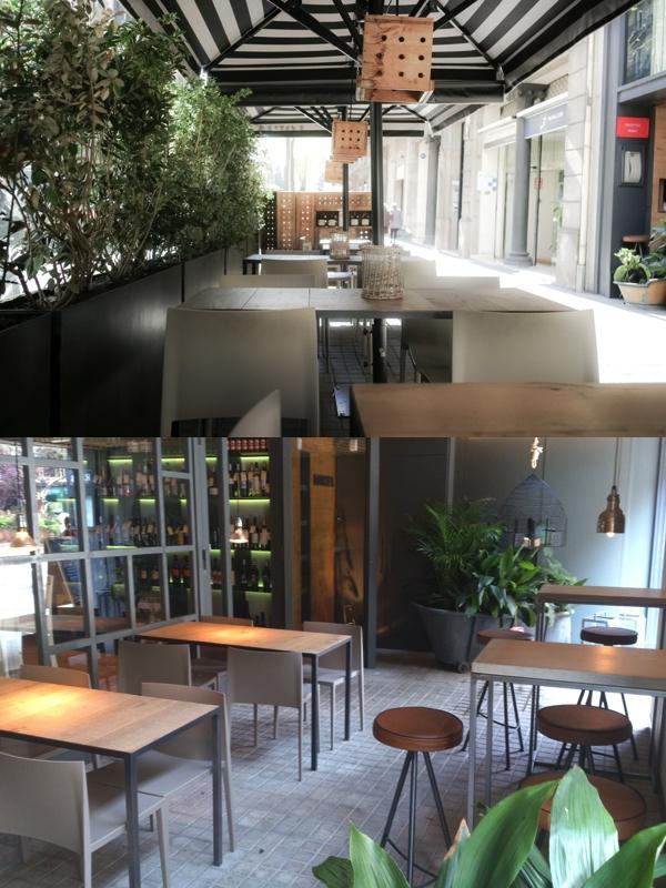 Las dos terrazas del restaurante barcelonés Loria