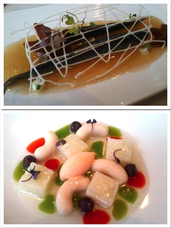 """Arriba, la sardina con escalibada y la """"red de pescar"""" de queso. Abajo, la delicada versión del bacalao """"esqueixat i empedrat"""""""