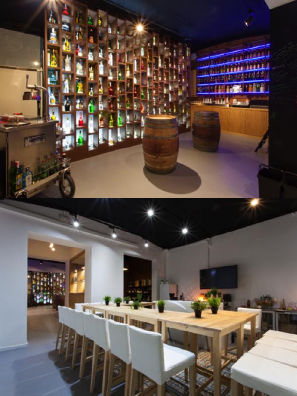 Dos ambientes de la cuidada y completa Cocktail Shop