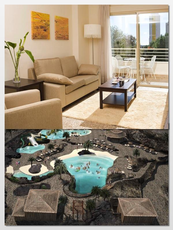 En la imagen de arriba, habitación del P&V Benidorm Poniente. En la de abajo, la piscina-cráter del P&V Village Club Fuerteventura