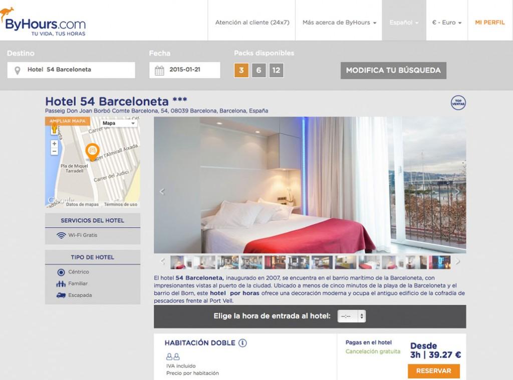Página de reserva de un hotel en ByHours.com