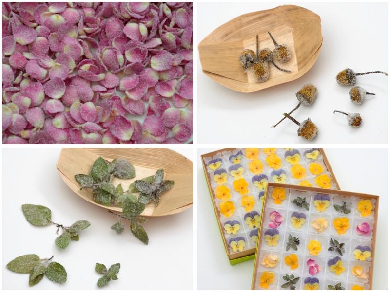 Pétalos, flores y hojas cristalizadas: de rosa de pitiminí, eléctrica y brotes de menta, además de cajas surtidas