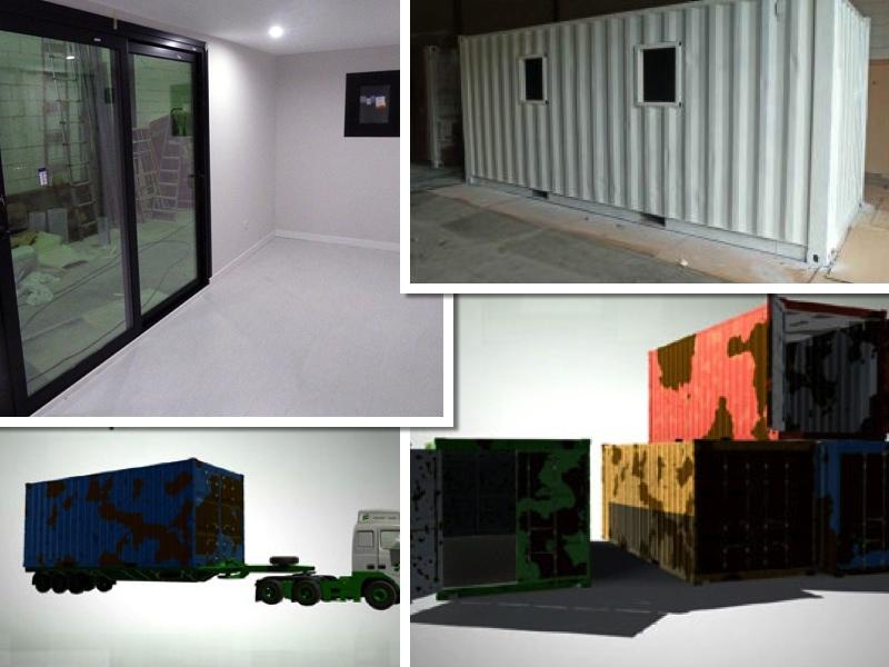 Exterior e interior de diferentes contenedores