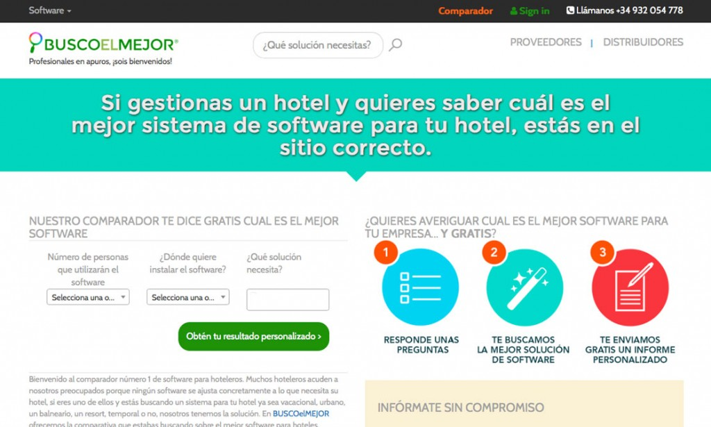 La página de Buscoelmejor.com para encontrar software para hoteles