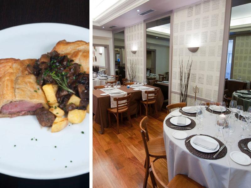 Un plato clásico y el elegante comedor de El Secreto de Castilla en Madrid