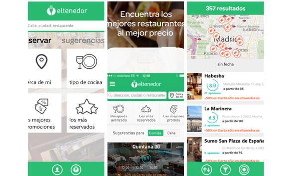 Pantallas de la web de reservas Eltenedor en diversos smartphones
