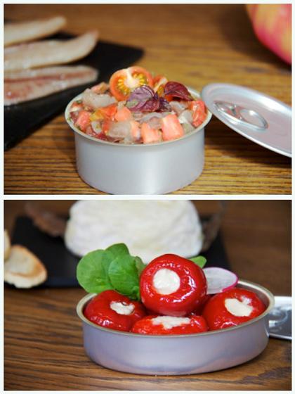 Tartar de de sardina de Santoña ahumada, y pimientos rellenos de queso de cabra