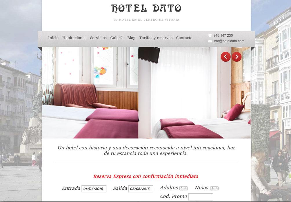 La home de la web del hotel Dato, que permite la reserva directa