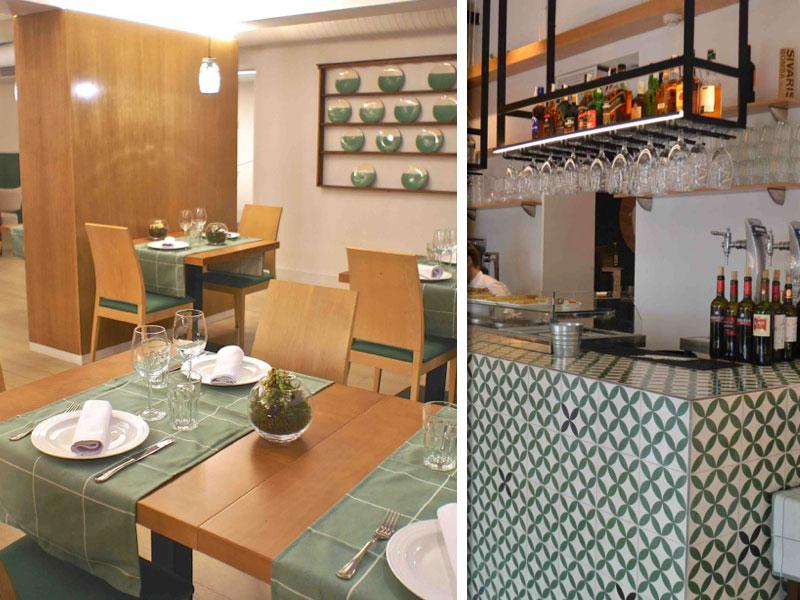 El comedor y la barra, alicatada en azulejo, de Moncholi