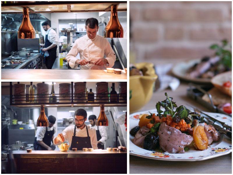 Josep Carbonell, chef ejecutivo, Carles Ramon, jefe de cocina, y uno de los guisos de La Bellvitja