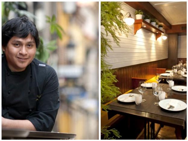 El chef limeño Mario Céspedes y la sala de su restaurante de Avilés, Ronda 14