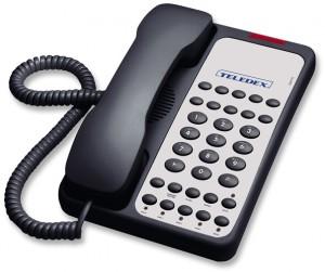 Teléfono de la serie Opal, de Cetis, de líneas suaves y elegantes. Puede ser con cable o inalámbrico