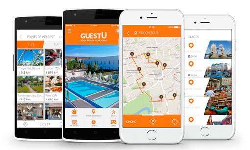La app GuestU en diferentes disposirivos