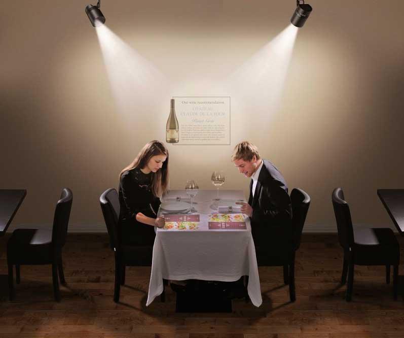 Proyectores de Panasonic en el restaurante