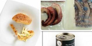 Delicatessen: pulpo congelado, escalope de foie gras, paté de ciervo