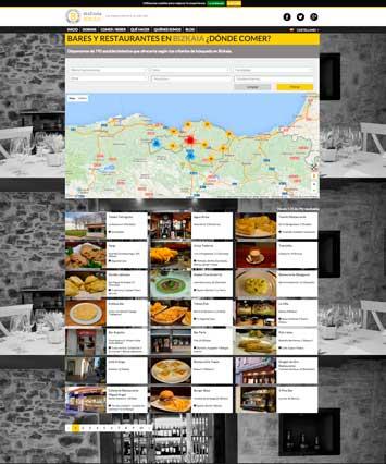 Página de búsqueda de restaurantes en Disfrutabizkaia.com