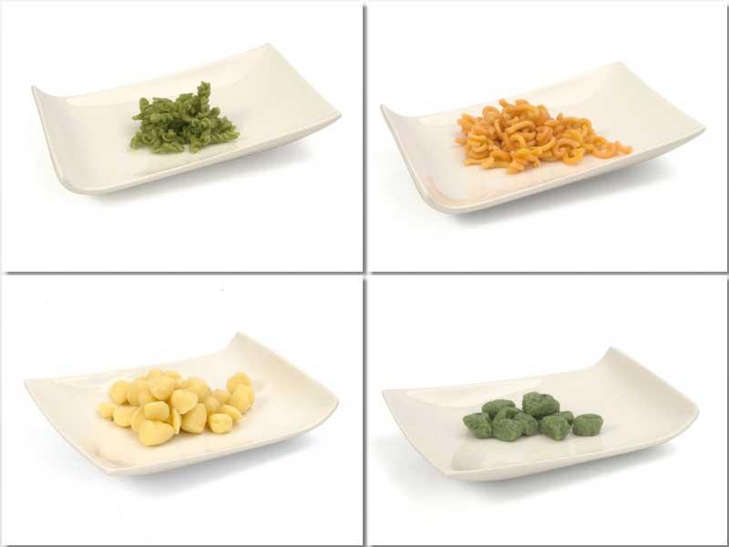 Fusili, Gramigna roja, Gnocci blanco y Gnocci de espinaca