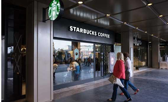 Exterior de una cafetería Starbucks