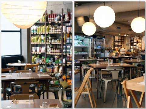 Sipermercado y restaurante ecológicos, en Woki Organic Market Marimón de Barcelona