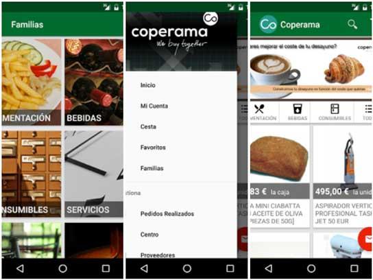 Varias pantallas de la nueva app de Coperama
