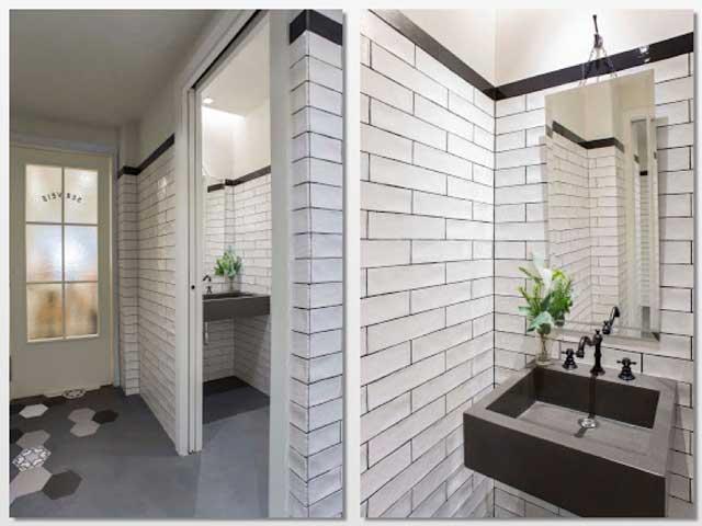 Los baños, en cerámica blanca con detalles negros