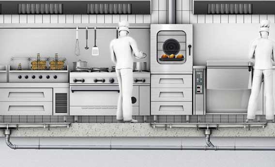 C mo solucionar los problemas de drenaje de agua y grasas for Distribucion de cocinas industriales