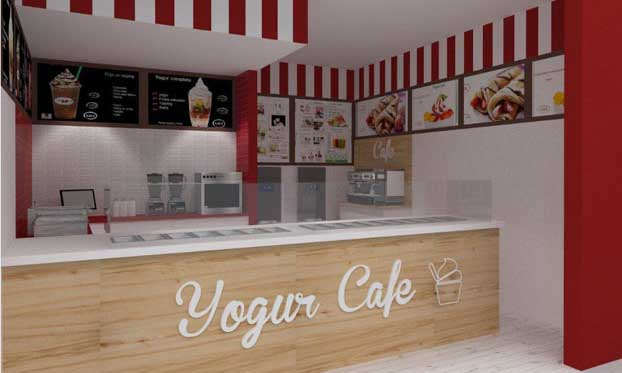 Interior de un local Yogur Café