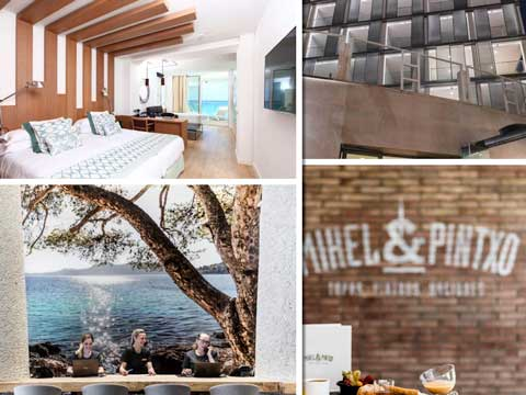 Habitación, fachada, recepción y restaurante del hotel Junior suite Renaissance del hotel Pure Salt Garona