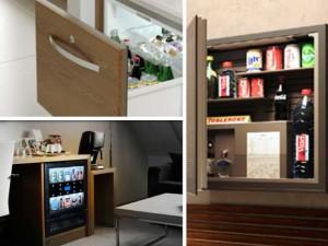 Minibares en cajón y sobre pared, de Arcon, y minibar-vending de Oppie