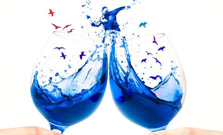 Copas de vino azul Gïk