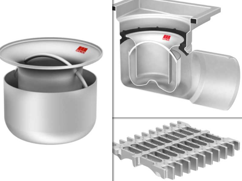 Los nuevos sifón, sumidero y rejilla que componen el sistema de drenaje higiénico