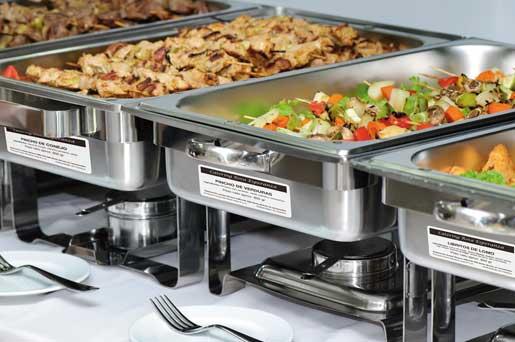 Chafing dish de buffet con etiquetas