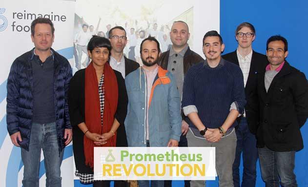 Los CEOs de las 5 start-ups elegidas, en la sede de Reimagine Food en Barcelona