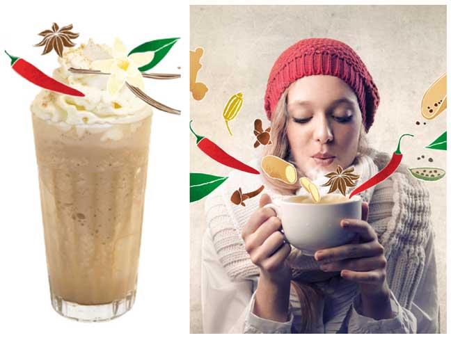 Dos versiones, fría y caliente, de té chai: frappé y chai latte