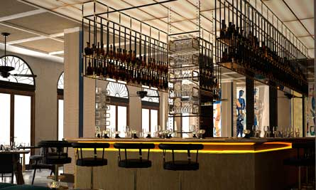 La elegante barra de bar del Gran Hotel Montesol Ibiza