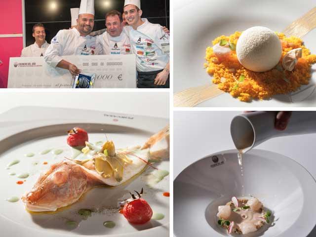 Entrega del cheque a Raúl Resino y su ayudante, y los tres platos del menú ganador que realizaron