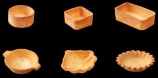 Tartaletas crujientes de hojaldre para la cocina en miniatura