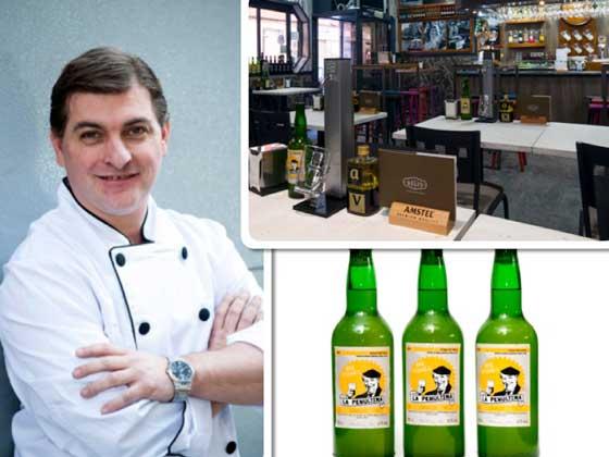 César Román, chef  y gerente de A Cañada Delic Experience; interior de sidrería, y la sidra propia La Penúltima
