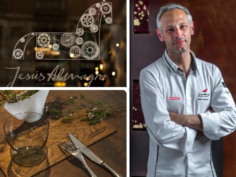 Jesús Almagro junto a la imagen del restaurante y un detalle de menaje rústico