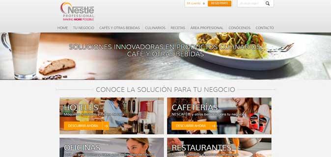 Home de la web de Nestlé Professional