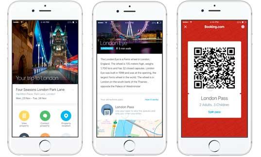 Pantallas de Booking Experiences en el móvil