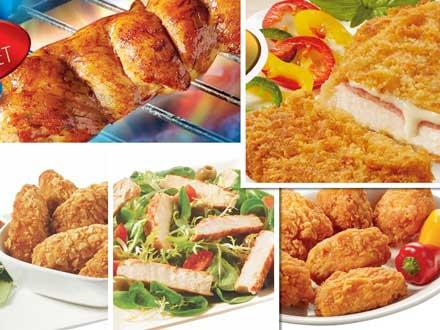 Diferentes precocinados de pollo, de la gama Cubox, de Bormarket