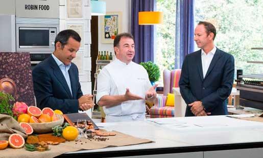 Presentación de los nuevos cafés en el programa de TV Robin Food, con Martín Berasategui como embajador