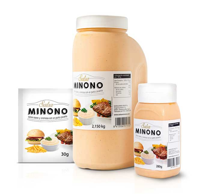 Los tres formatos en los que se ofrece la salsa Minono