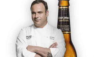 Agel León y cerveza Cruzcapmpo Gran Reserva en el cartel del concurso Maestros de la Tapa