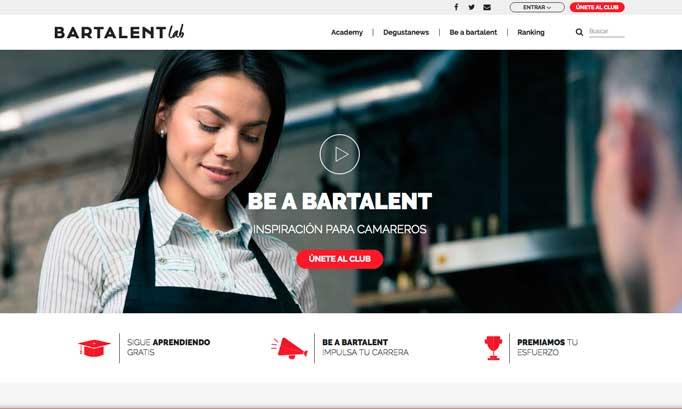 La home de Bartalent Lab, plataforma para camareros