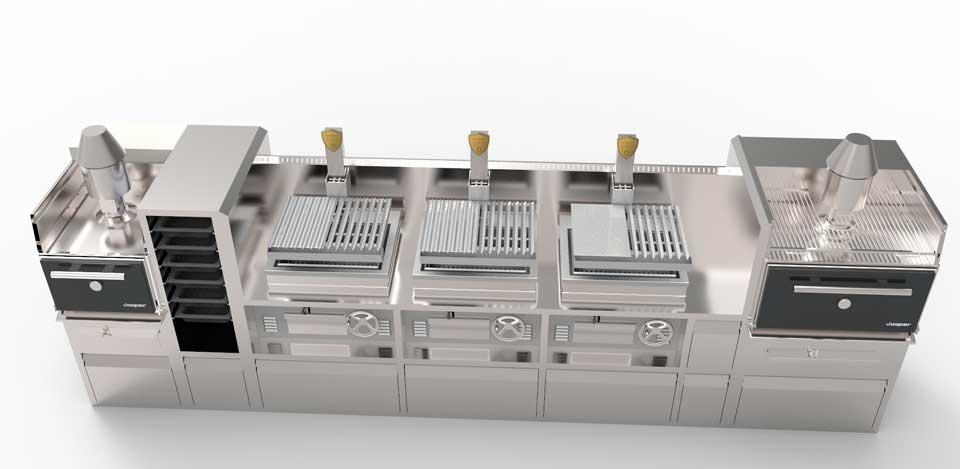 Combo de tres Parrillas Vascas Josper y dos hornos de brasa modelos HJX25M y HJX45M